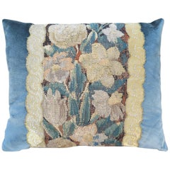 Maison Maison 18th Century Floral Tapestry with Blue Silk Velvet Pillow