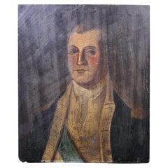 18th Century Folk Art Half Length Portrait Naval Officer Oil on Board Antique