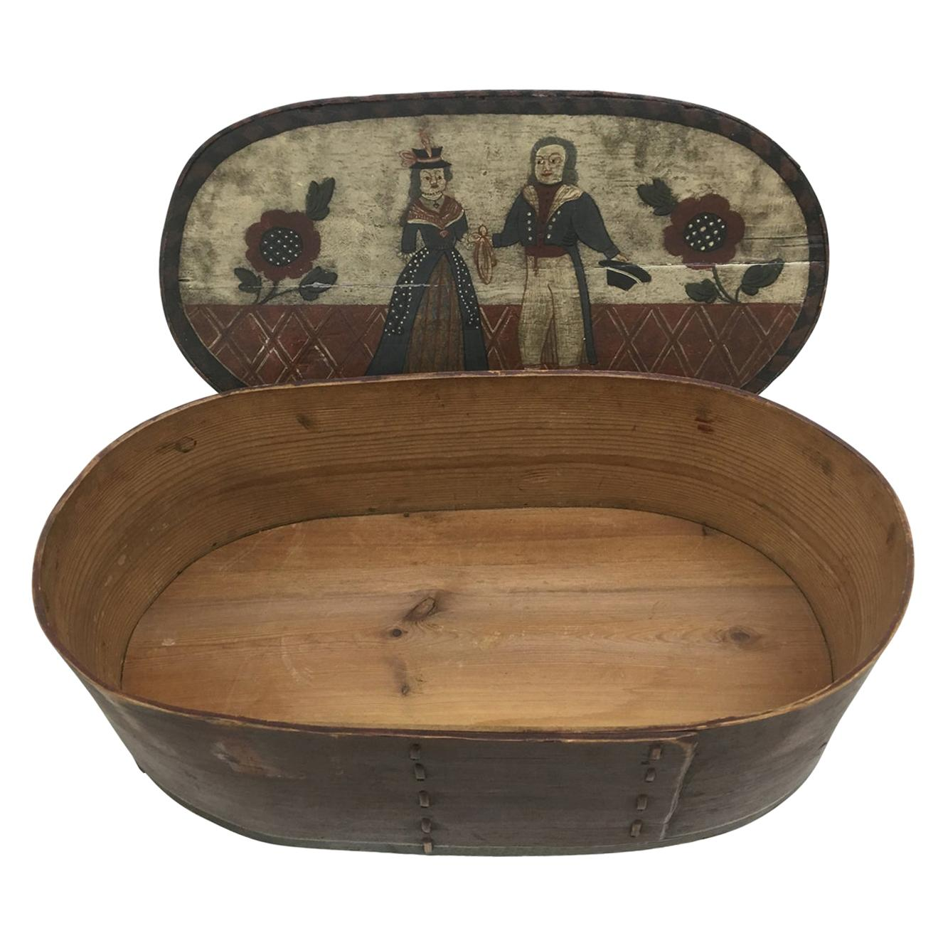 Scandinavian 18th Century Folk Art Hat Or Wick Box