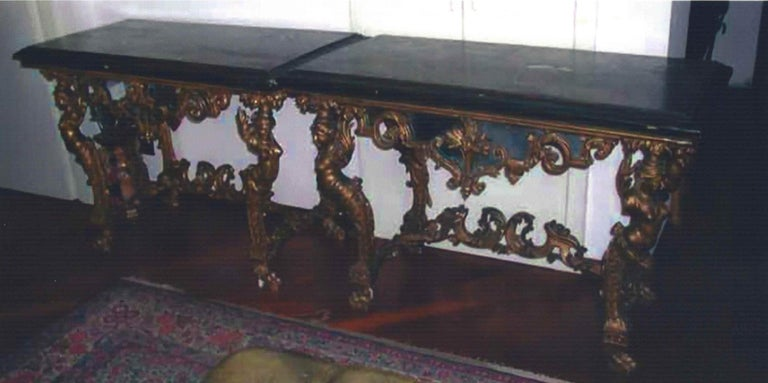 Console, one of a pair, in painted wood, lacquered in polychrome and gilded, rectangular top decorated with chinoiseries embellished with mother-of-pearl tesserae and depicting boats, bridges, architectural structures, pagodas and thin saplings.