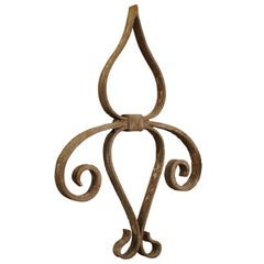 18th Century Forged Iron Fleur De Lys Ancre Wall Support from France