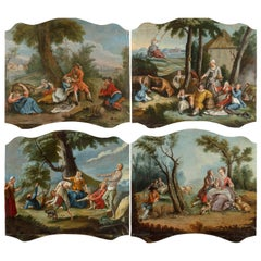18th Century, Four Italian Painting with Animated Scenes in Landscape