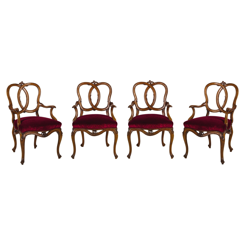 18th Century Four Venetian Carved Walnut Wood Armchairs