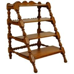 18th Century Four Walnut Steps, Italian Baroque Rocchetto Ladder