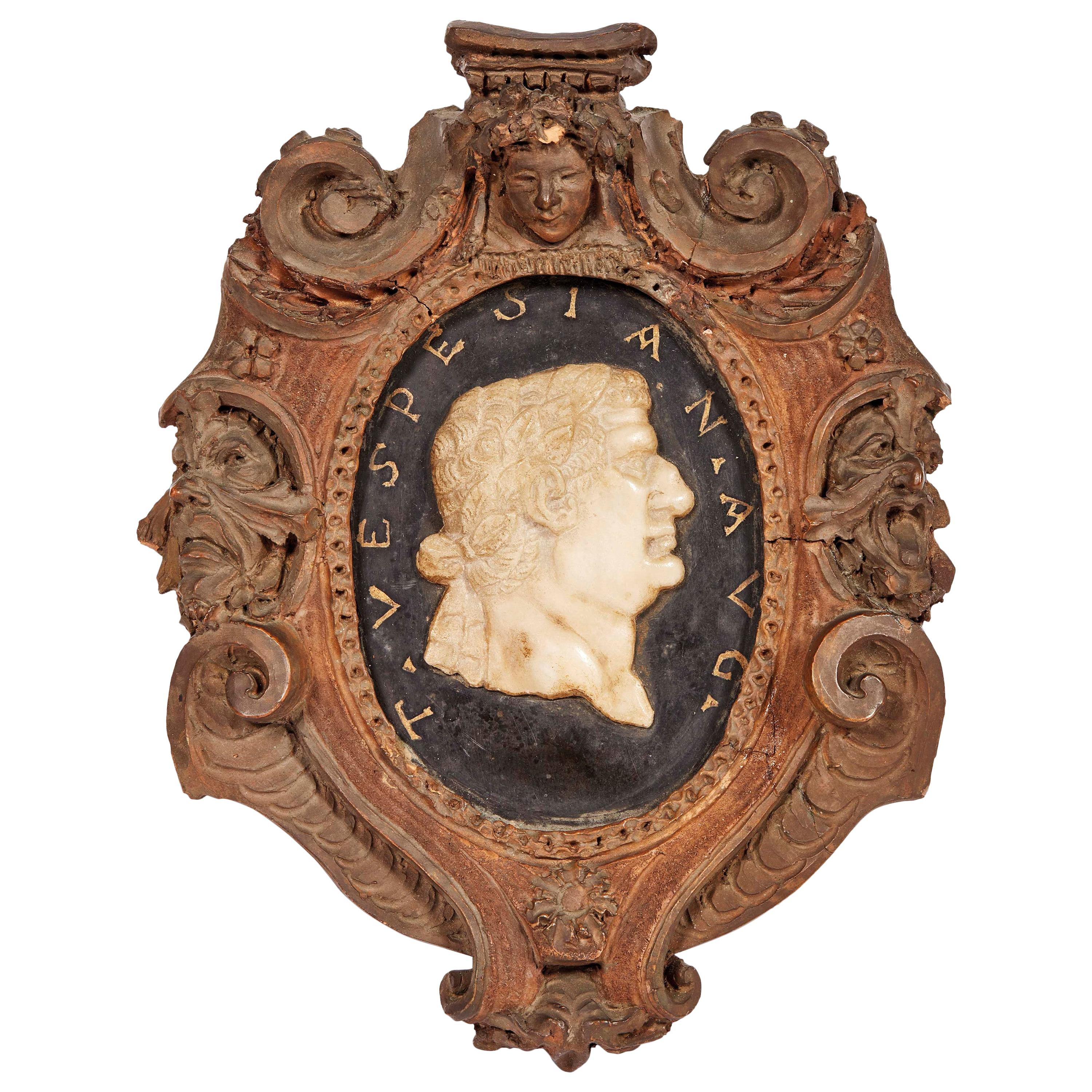 18th Century Frame with a Marble Profile Portraits Vespesian Roman Emperor