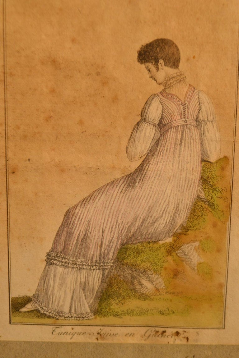 18th Century Framed Fashion Engraving In Fair Condition For Sale In Vista, CA