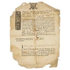 18th Century Framed & Glazed 1743 Affidavit Ann Wild Buried In Wool Memento Mori