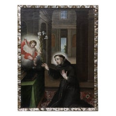 18th Century Framed Italian Oil Painting on Canvas of St. Anthony