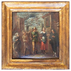 18th Century Framed Oil on Canvas Painting Attributed to Francesco Guardi