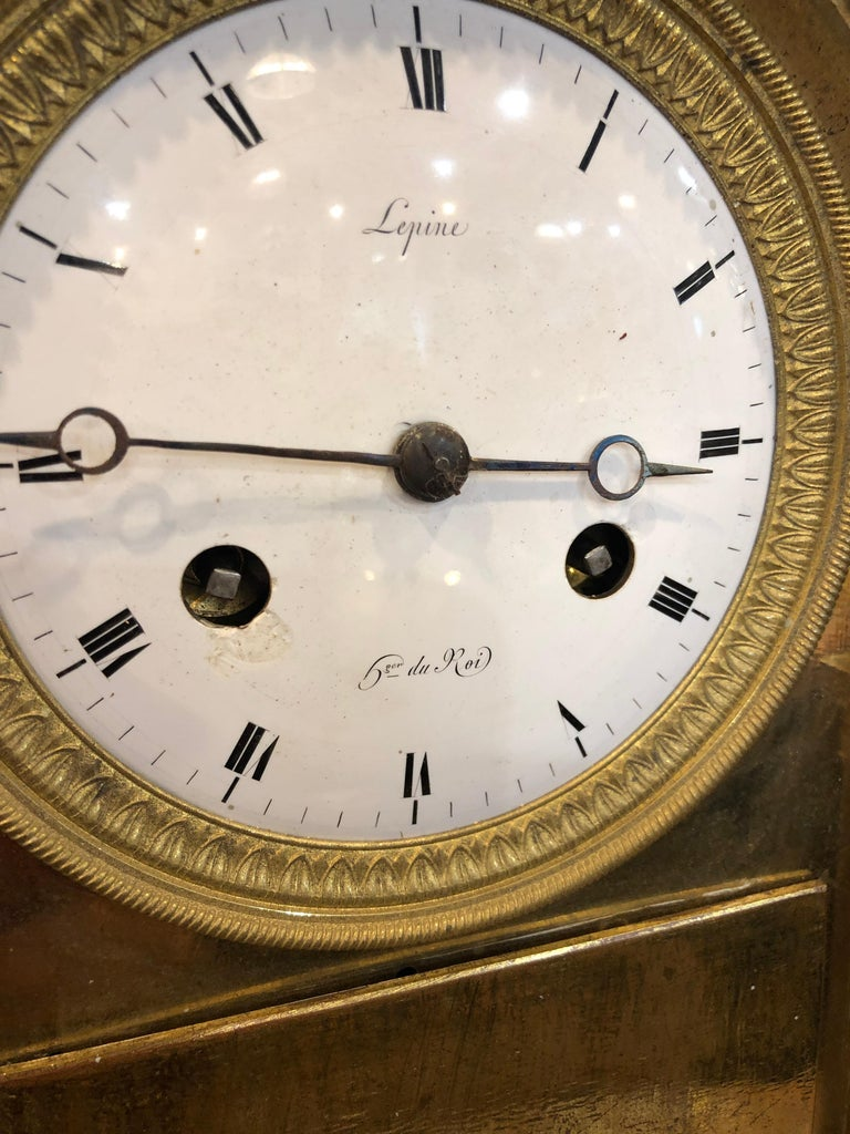 Empire 18th Century France Louis XVI Gilt Mantel Clock by Lepine, 1790s For Sale