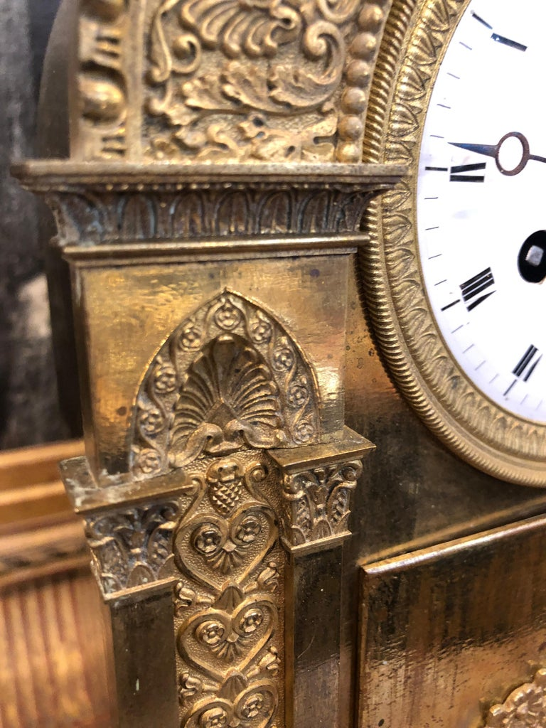 Bronze 18th Century France Louis XVI Gilt Mantel Clock by Lepine, 1790s For Sale