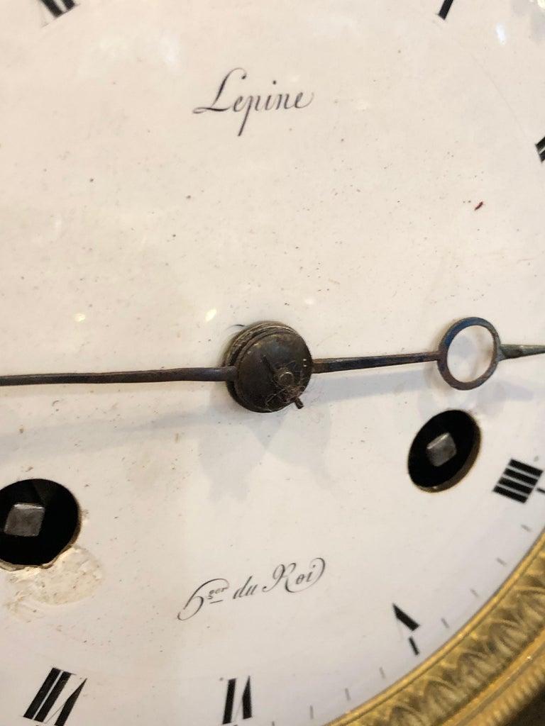 18th Century France Louis XVI Gilt Mantel Clock by Lepine, 1790s For Sale 1
