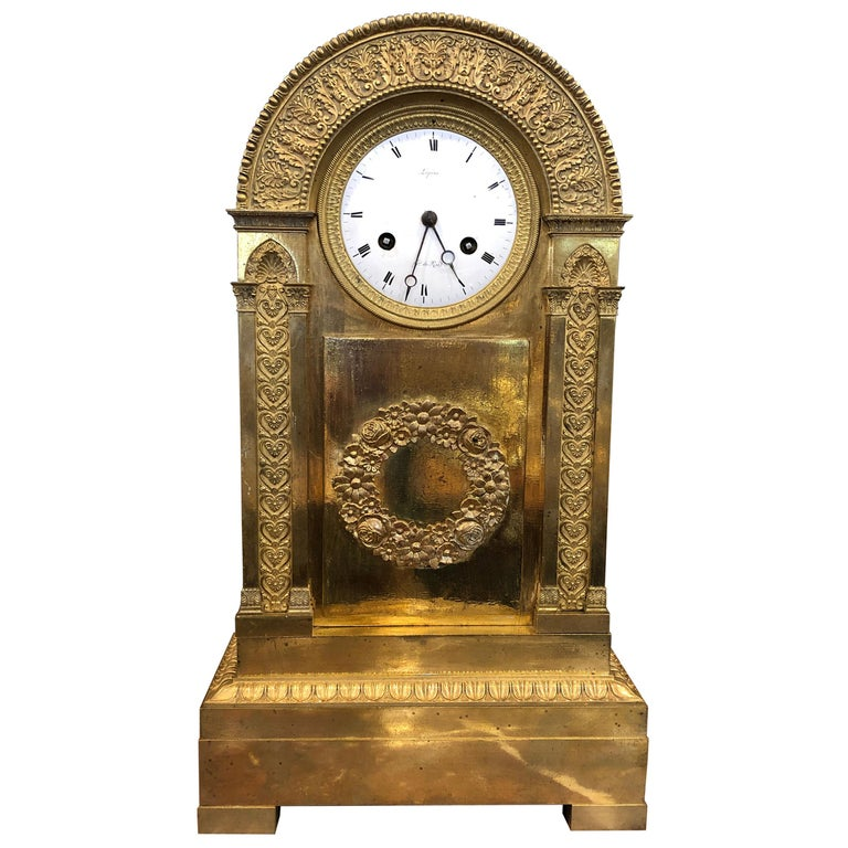 18th Century France Louis XVI Gilt Mantel Clock by Lepine, 1790s For Sale