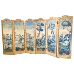 18th Century French 6-Panel Screen, Painted Canvas Paravent