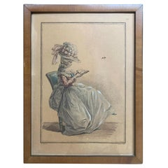 18th Century French Aquatint Engraving of Woman Reading by C.L. Jubier