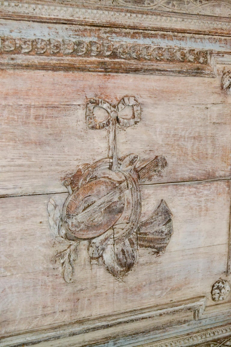 Nice 18th century French carved and painted oak architectural panel.