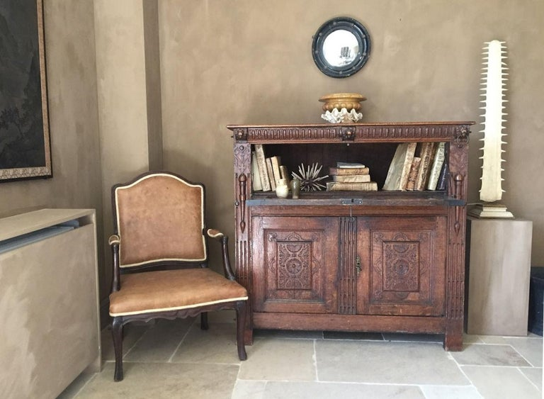 18th Century French Armchair Leather and Walnut For Sale 7