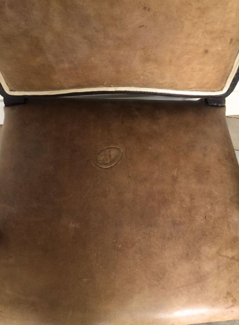 Hand-Crafted 18th Century French Armchair Leather and Walnut For Sale
