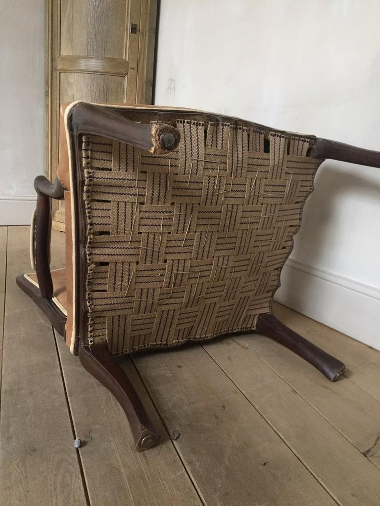 18th Century French Armchair Leather and Walnut For Sale 3