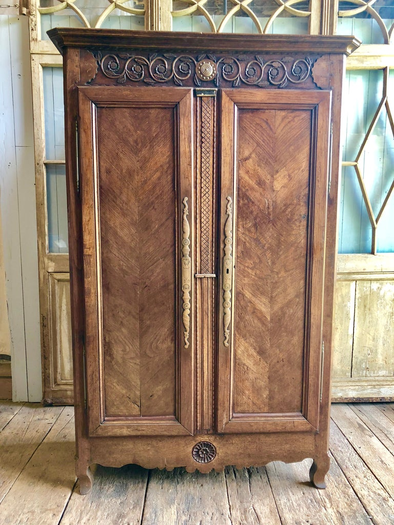 A French Provincial (probably Bresse) Louis XV armoire in elm, with nicely carved upper and lower panels, 2 chevron-paneled full length doors on short cabriole feet, circa 1780. The painted interior has removable shelves.