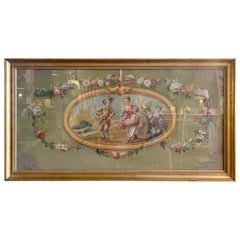 18th Century French Aubusson Courting Tapestry Gouache on Paper in Gilt Frame