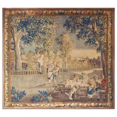 "18th Century French Aubusson Pastoral Scene Tapestry Titled ""Le Repas Champetre"""