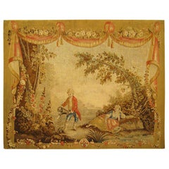 18th Century French Aubusson Romantic Tapestry, with Drapery Motif