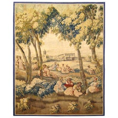 18th Century French Aubusson Rustic Tapestry Panel