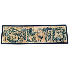 18th Century French Aubusson Tapestry Center Table Runner with Foliage Decor