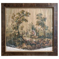 18th Century French Aubusson Tapestry Gouache on Paper with Frame and Glass