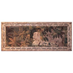 18th Century French Aubusson Tapestry in Antique Painted Leaf Decor Frame