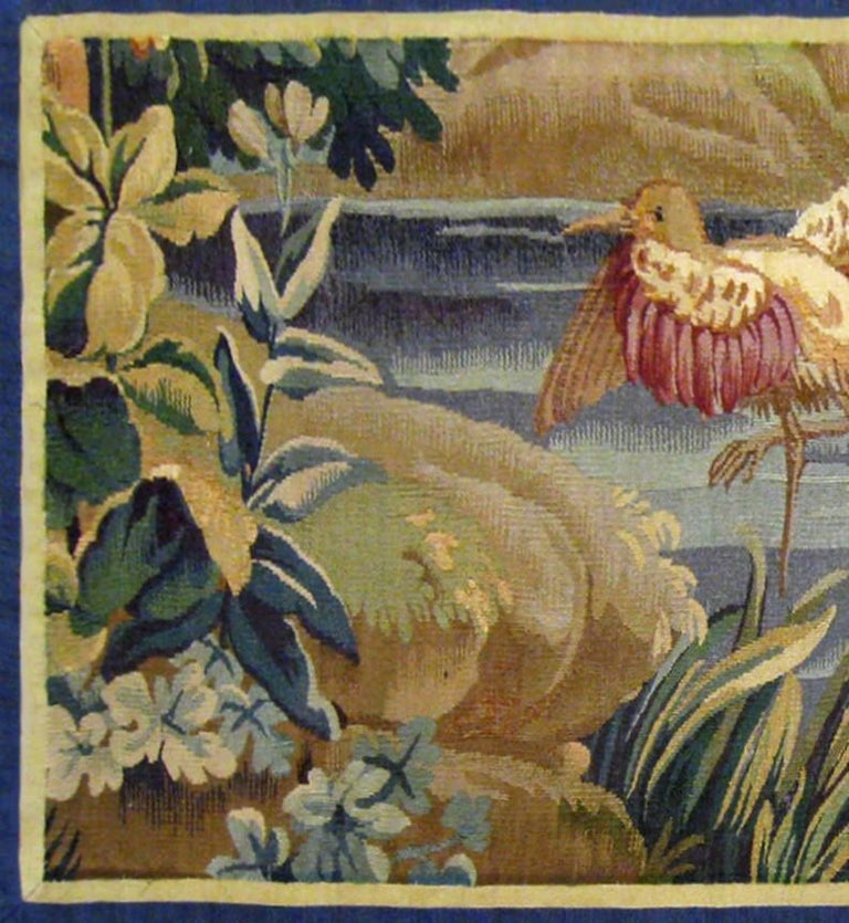 Hand-Woven 18th Century French Aubusson Verdure Landscape Tapestry For Sale