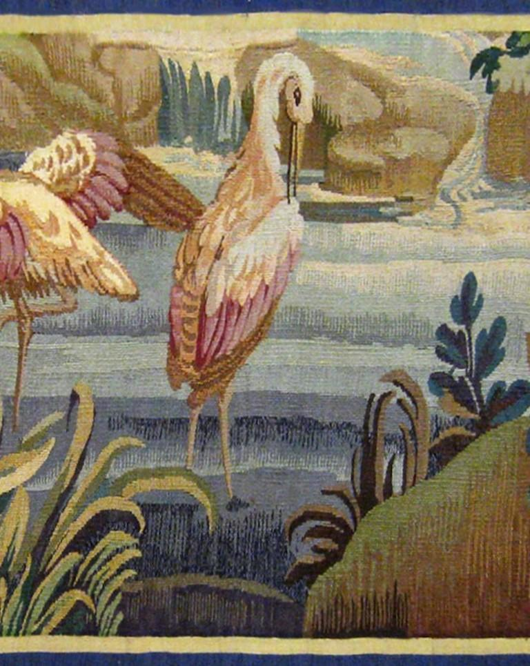 18th Century and Earlier 18th Century French Aubusson Verdure Landscape Tapestry For Sale