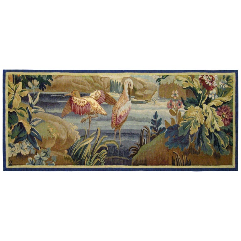18th Century French Aubusson Verdure Landscape Tapestry For Sale