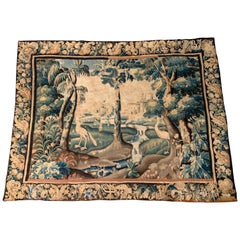 18th Century French Aubusson Verdure Tapestry with Birds and Castle