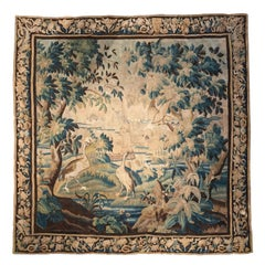 18th Century French Aubusson Verdure Tapestry with Birds and Stream