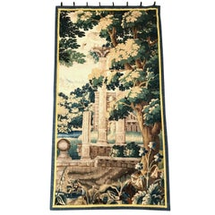 18th Century French Aubusson Verdure Tapestry with Roman Ruins Structure