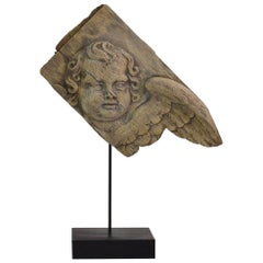18th Century French Baroque Carved Oak Angel Head on a Wing