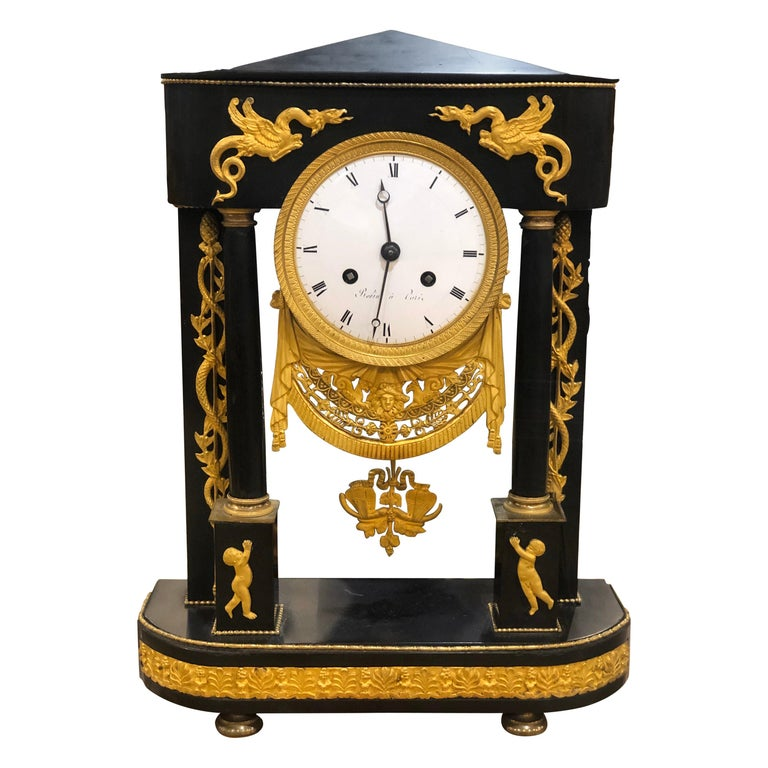 18th Century French Black Marble Clock Louis XVI Robert Robin For Sale