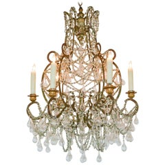 18th Century French Blown Glass and Crystal Chandelier