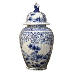 18th Century French Blue and White Delft Faience Jar Vase with Lid