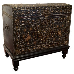 18th Century French Bombe Leather Trunk with Bronze Mounts and Decorative Nails