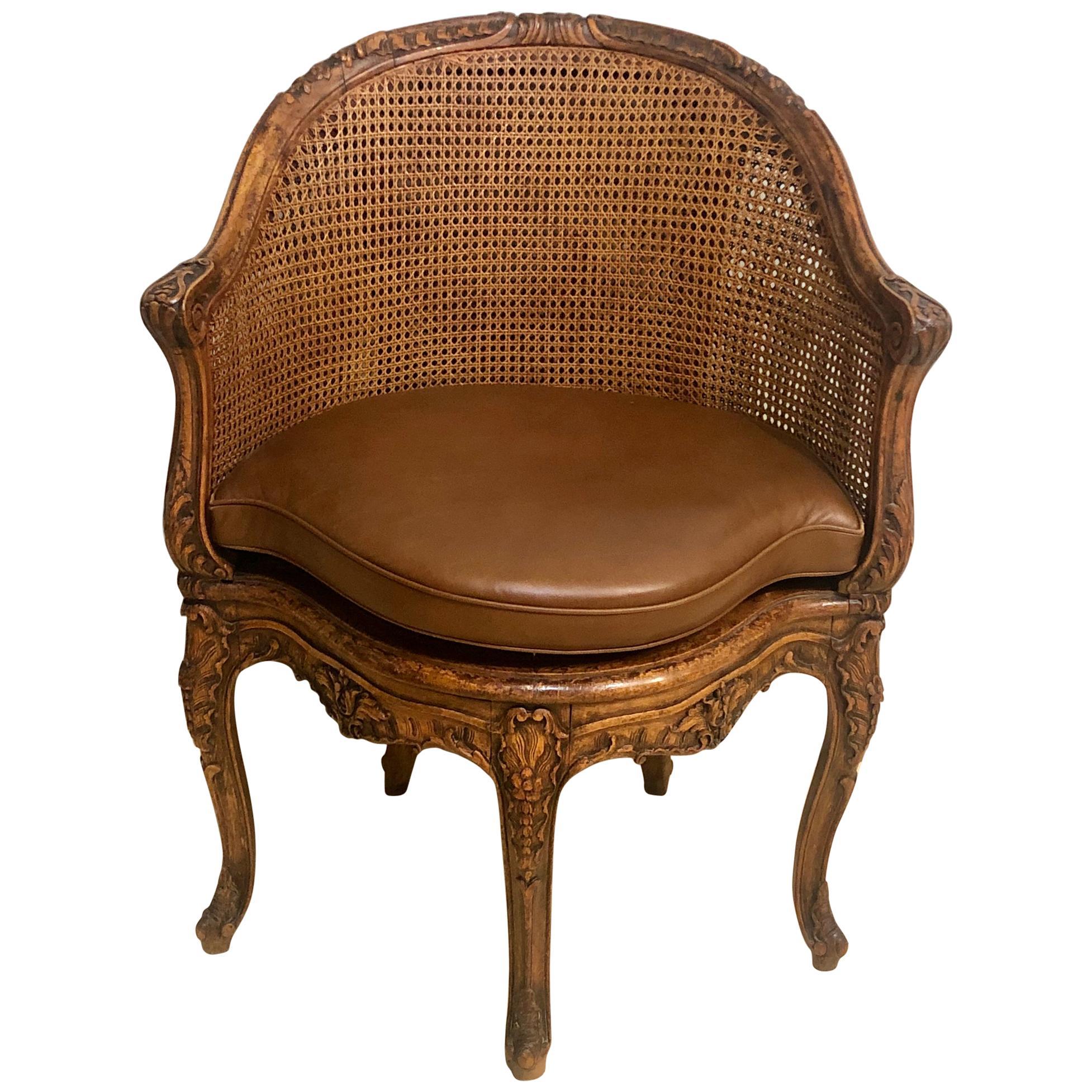18th Century French Caned Bergère de Bureau