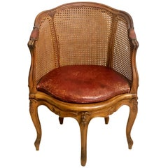 18th Century French Caned Bergère de Bureau