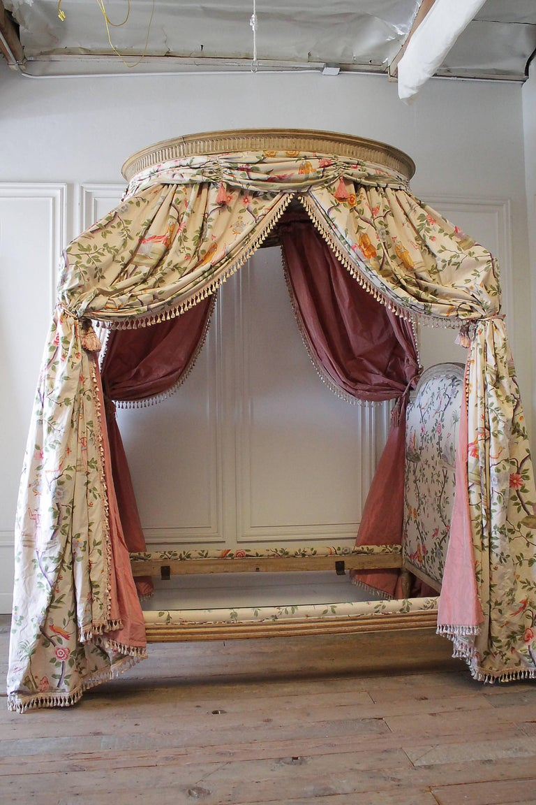 18th Century French Canopy Daybed With Toile Upholstery At