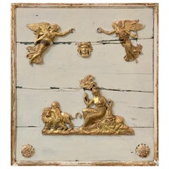18th Century French Carved Figural Giltwood Panel