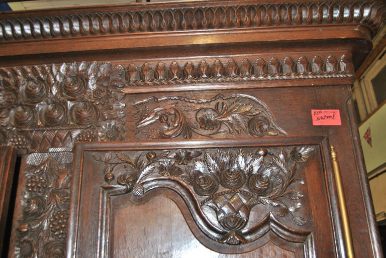 French Provincial 18th Century French Carved Oak Armoire For Sale