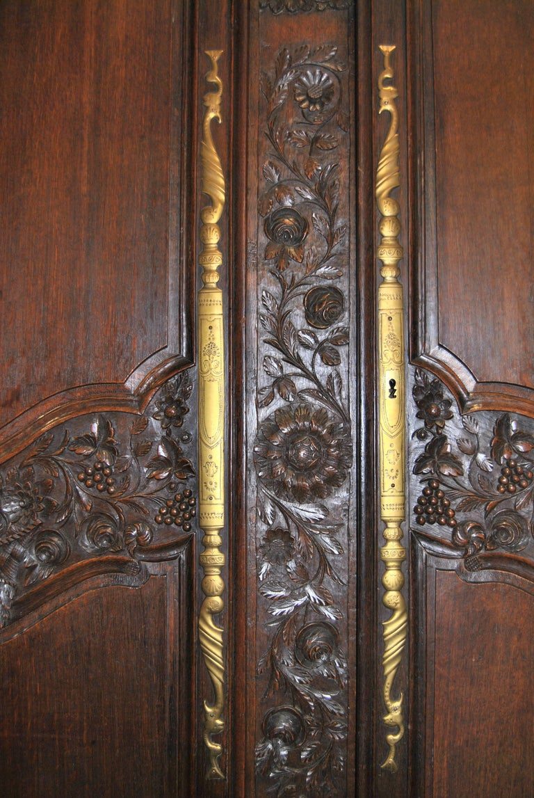 Late 18th Century 18th Century French Carved Oak Armoire For Sale