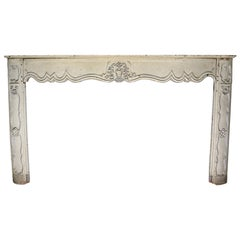 18th Century French Carved Oak Fireplace