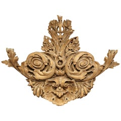 18th Century French Carved Oak Painted and Gilt Wall Sculpture with Shell Motif